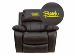 California State University - Long Beach 49ers Leather Rocker Recliner - MEN-DA3439-91-BRN-45005-EMB-GG