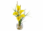 Calla Lilly Liquid Illusion Silk Flower Arrangement in Yellow - Nearly Natural - 1118-YL