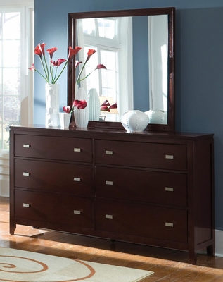 Calvin 6 Drawer Dresser in Cappuccino - B205D