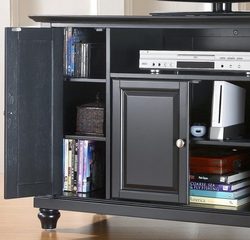 "Cambridge 48"" TV Stand in Black Finish - Crosley Furniture - KF10002DBK"