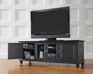 "Cambridge 60"" Low Profile TV Stand in Black - CROSLEY-KF10005DBK"