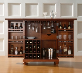 Cambridge Expandable Bar Cabinet in Classic Cherry Finish - Crosley Furniture - KF40001DCH