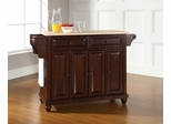 Cambridge Natural Wood Top Kitchen Island in Vintage Mahogany - CROSLEY-KF30001DMA