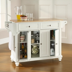 Cambridge Natural Wood Top Kitchen Island in White Finish - Crosley Furniture - KF30001DWH