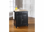 Cambridge Natural Wood Top Portable Kitchen Island in Black - CROSLEY-KF30021DBK