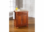 Cambridge Natural Wood Top Portable Kitchen Island in Classic Cherry - CROSLEY-KF30021DCH