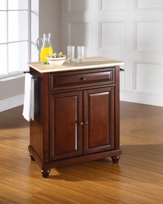 Cambridge Natural Wood Top Portable Kitchen Island in Vintage Mahogany - CROSLEY-KF30021DMA