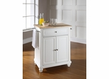 Cambridge Natural Wood Top Portable Kitchen Island in White - CROSLEY-KF30021DWH