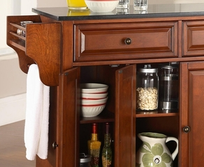 Cambridge Solid Black Granite Top Kitchen Island in Classic Cherry Finish - Crosley Furniture - KF30004DCH