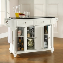 Cambridge Solid Black Granite Top Kitchen Island in White Finish - Crosley Furniture - KF30004DWH