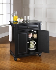 Cambridge Solid Black Granite Top Portable Kitchen Island in Black - CROSLEY-KF30024DBK