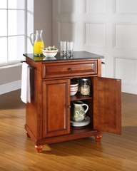 Cambridge Solid Black Granite Top Portable Kitchen Island in Classic Cherry - CROSLEY-KF30024DCH