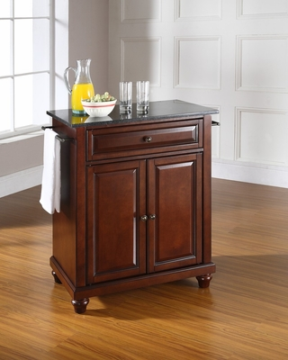 Cambridge Solid Black Granite Top Portable Kitchen Island in Vintage Mahogany - CROSLEY-KF30024DMA