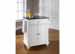 Cambridge Solid Black Granite Top Portable Kitchen Island in White - CROSLEY-KF30024DWH