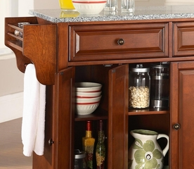 Cambridge Solid Granite Top Kitchen Island in Classic Cherry Finish - Crosley Furniture - KF30003DCH