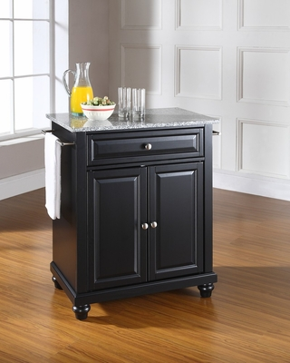 Cambridge Solid Granite Top Portable Kitchen Island in Black - CROSLEY-KF30023DBK