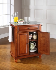 Cambridge Solid Granite Top Portable Kitchen Island in Classic Cherry - CROSLEY-KF30023DCH