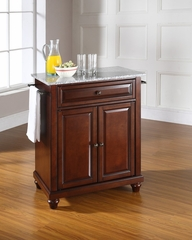 Cambridge Solid Granite Top Portable Kitchen Island in Vintage Mahogany - CROSLEY-KF30023DMA