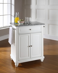 Cambridge Solid Granite Top Portable Kitchen Island in White - CROSLEY-KF30023DWH