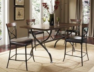 Cameron 5-Piece Counter Height Rectangle Wood Dining Set with X Back Stools - Hillsdale Furniture - 4671CTBRS2
