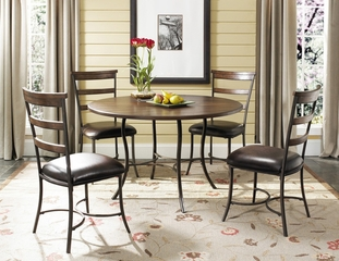 Cameron 5-Piece Round Wood and Metal Dining Set with Ladder Back Chairs - Hillsdale Furniture - 4671DTBC5