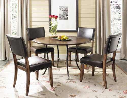 Cameron 5-Piece Round Wood and Metal Dining Set with Parson Chairs - Hillsdale Furniture - 4671DTBC4