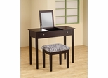 Cappuccino Lift-Top Vanity with Upholstered Stool - 300284
