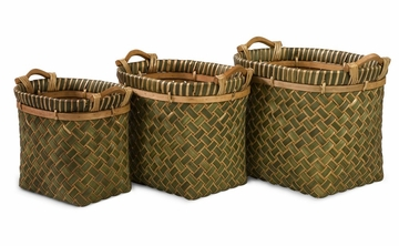 Capri Green Baskets (Set of 3) - IMAX - 67008-3