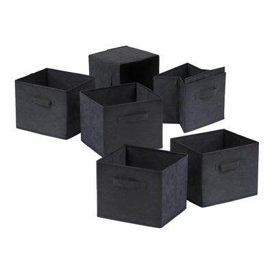 Capri Set of 6 Foldable Black Fabric Baskets - Winsome Trading - 22611