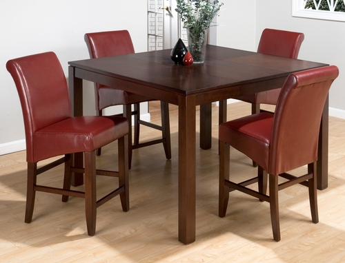 Carlsbad Cherry 5 Piece Pub Table Set with Red Chairs - 888-53