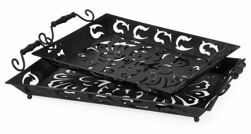 Carolina Pierced Metal Trays (Set of 2) - IMAX - 12321-2