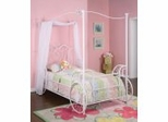 Carriage Canopy Twin Size Bed with Bed Frame - Princess Emily - Powell Furniture - 374-042