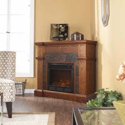 Cartwright Mission Oak Electric Fireplace - Holly and Martin