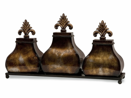Cassia Lidded Boxes on Tray - IMAX - 87105
