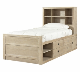"Cassidy ""Washed Teak"" Twin Size Storage Bed - Powell Furniture - 504-038"