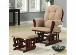 Casual Glider Rocker and Ottoman with Beige Upholstery - 650010