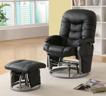 Casual Leatherette Glider Recliner with Matching Ottoman - 600227