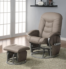 Casual Leatherette Glider Recliner with Matching Ottoman - 600228