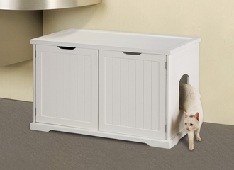 Cat Washroom Bench in White - Merry Products - MPS010