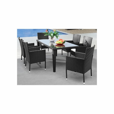Cavendish 7pc Outdoor Table Set in Espresso - Zuo