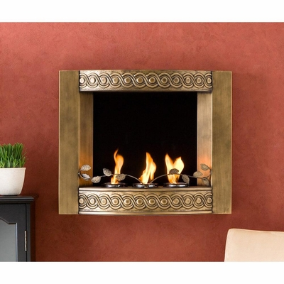 Cecilia Wall Mount Fireplace in Antique Gold - Holly and Martin