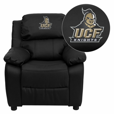 Central Florida Knights Embroidered Black Leather Kids Recliner - BT-7985-KID-BK-LEA-40022-EMB-GG