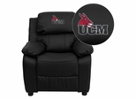 Central Missouri Mules Embroidered Black Leather Kids Recliner - BT-7985-KID-BK-LEA-41082-A-EMB-GG