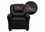 Central Missouri Mules Embroidered Black Vinyl Kids Recliner - DG-ULT-KID-BK-41082-A-EMB-GG