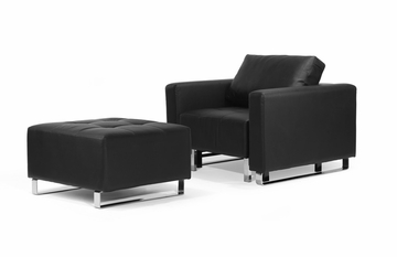Chair Convertible with Ottoman in Black - Lincoln Park - BA-LCP-1-FA-BK-CHAIR-SET