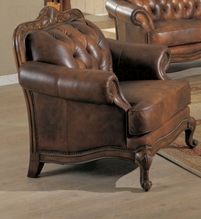 Chair in Brown Tri-Tone Leather - Coaster