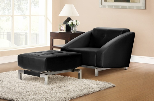Chair with Ottoman in Black - Quadro Vega - BA-VGM-1-FA-BK-CHAIR-SET