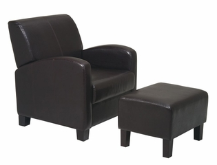Chair with Ottoman in Dark Brown - Office Star - MET807