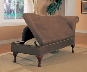Chaise Lounger in Brown Microfiber - Coaster