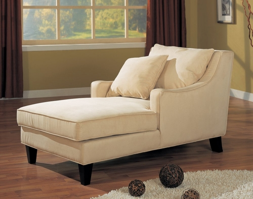 Chaise Lounger in Cream Microfiber - Coaster